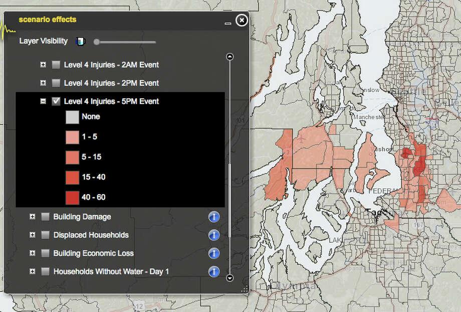 Tacoma fault 7.1 magnitude quake worst injuries. Photo: Washington State Earthquake Hazards Scenario Catalog