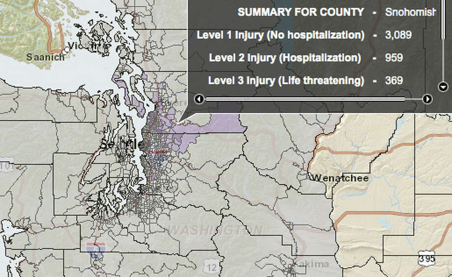 South Whidbey Island fault quake at 7.4 magnitude - hardest hit county. Photo: Washington State Earthquake Hazards Scenario Catalog