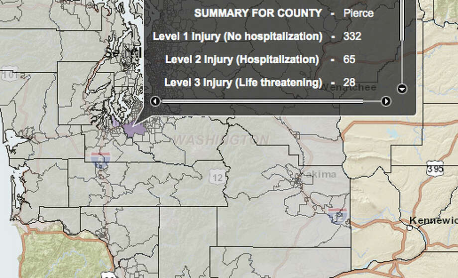 SeaTac quake at 7.2 magnitude - hardest hit county. Photo: Washington State Earthquake Hazards Scenario Catalog