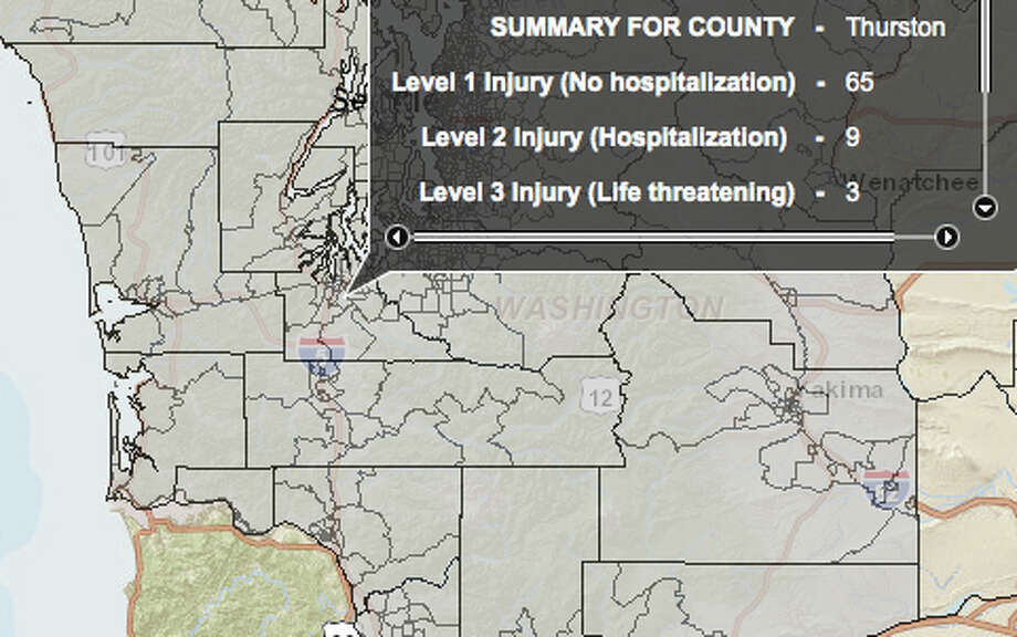 Olympia fault quake at 5.7 magnitude - hardest hit county. Photo: Washington State Earthquake Hazards Scenario Catalog