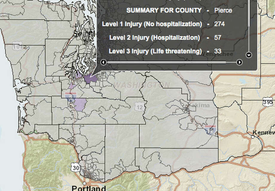 Nisqually fault 7.2 magnitude quake - hardest hit county. Photo: Washington State Earthquake Hazards Scenario Catalog
