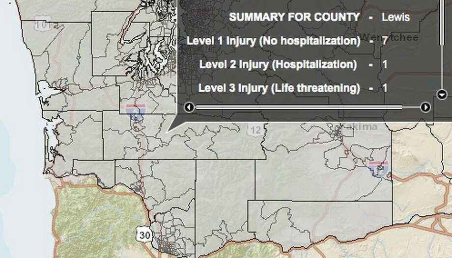 Mount Saint Helens fault at 7.0 magnitude quake - hardest hit county. Photo: Washington State Earthquake Hazards Scenario Catalog