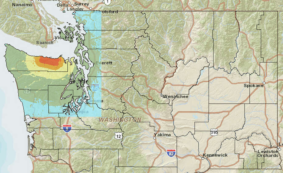 Lake Creek fault at 6.8 magnitude quake. Photo: Washington State Earthquake Hazards Scenario Catalog