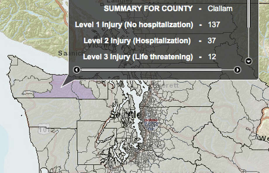 Lake Creek fault at 6.8 magnitude quake - hardest hit county. Photo: Washington State Earthquake Hazards Scenario Catalog