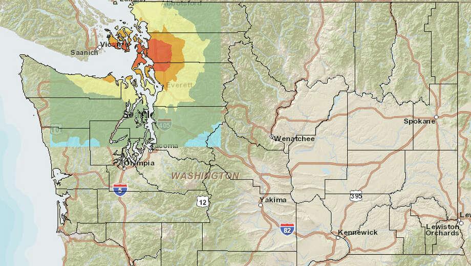Devil's Mountain fault (west) at 7.4 magnitude quake. Photo: Washington State Earthquake Hazards Scenario Catalog