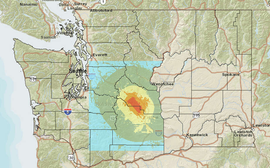 Cle Elum fault in a 6.8 magnitude quake. Photo: Washington State Earthquake Hazards Scenario Catalog