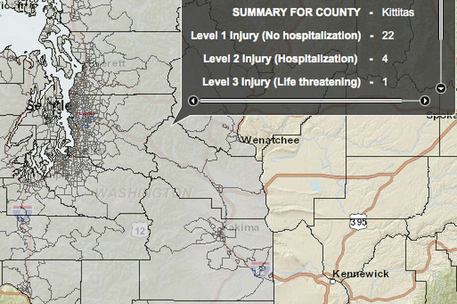 Cle Elum fault in a 6.8 magnitude quake - hardest hit county. Photo: Washington State Earthquake Hazards Scenario Catalog