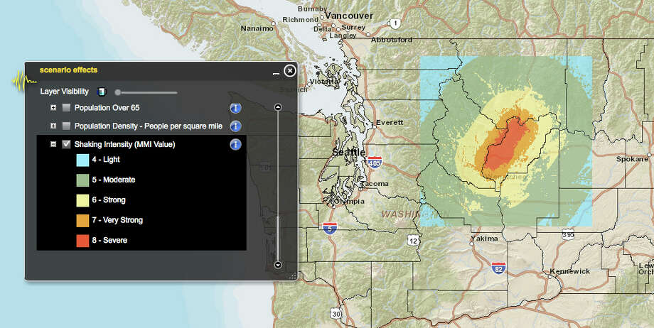 Chelan fault in a 7.2 magnitude quake. Photo: Washington State Earthquake Hazards Scenario Catalog
