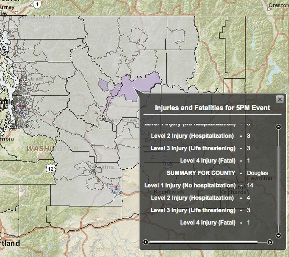 Chelan fault in a 7.2 magnitude quake - hardest hit county. Photo: Washington State Earthquake Hazards Scenario Catalog