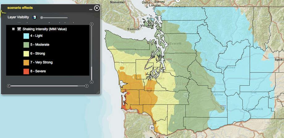 Cascadia subduction zone  (north) in an 8.3 magnitude quake. Photo: Washington State Earthquake Hazards Scenario Catalog