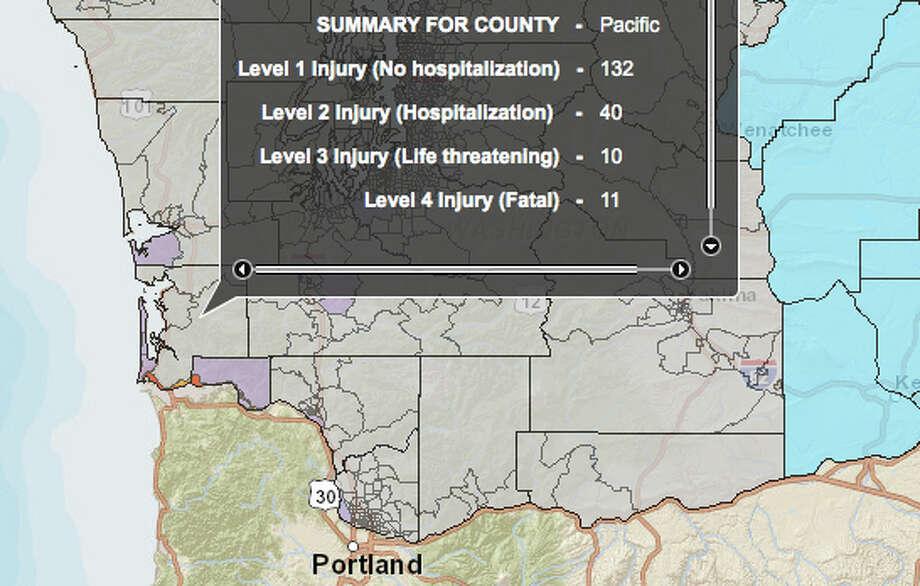 Cascadia subduction zone (north) in an 8.3 magnitude quake - hardest hit county. Photo: Washington State Earthquake Hazards Scenario Catalog