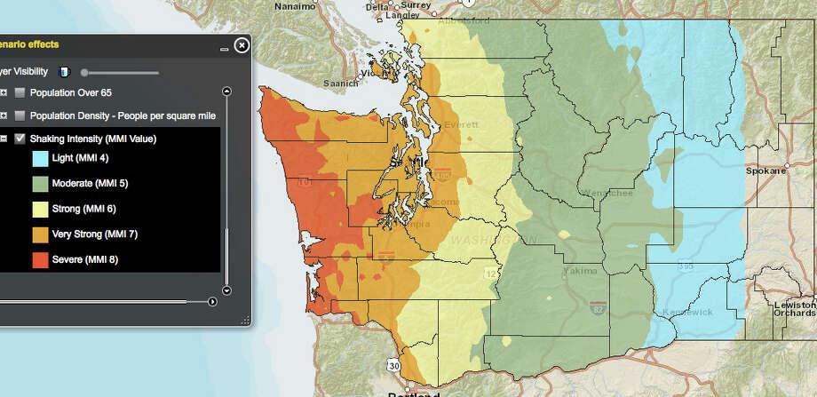 THE BIG ONE: Cascadia subduction zone in a 9.0 magnitude quake. Photo: Washington State Earthquake Hazards Scenario Catalog