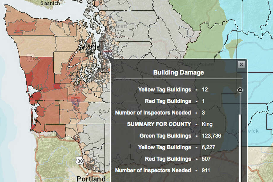 THE BIG ONE: Cascadia subduction zone in a 9.0 magnitude quake - buildings damages in King County. Photo: Washington State Earthquake Hazards Scenario Catalog