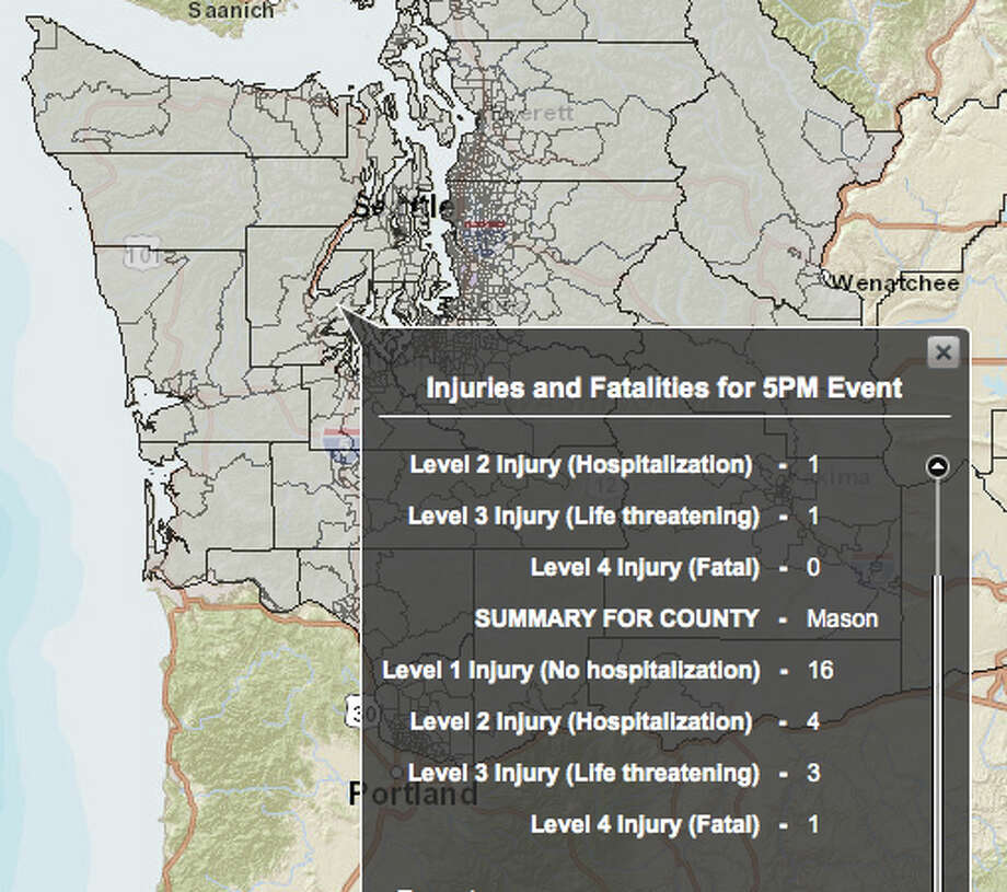 Canyon River fault in 7.4 magnitude quake - hardest hit county. Photo: Washington State Earthquake Hazards Scenario Catalog