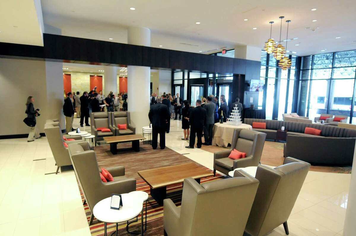 A view of the Hilton Albany hotel lobby on Monday, May 20, 2013 in downtown Albany, NY. (Paul Buckowski / Times Union)