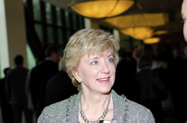 Linda McMahon socializes during the Prescott Bush Awards dinner at the Stamford Hilton Hotel in Stamford on Monday, May 20, 2013. Photo: Amy Mortensen / Connecticut Post Freelance