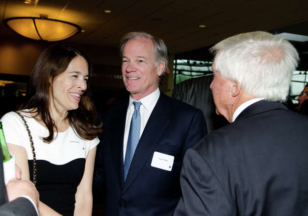 Leslie Foley and Tom Foley speak with Malcolm Pray during the annual Connecticut GOP Prescott Bush Awards dinner at the Stamford Hilton Hotel in Stamford on Monday, May 20, 2013. Photo: Amy Mortensen / Connecticut Post Freelance