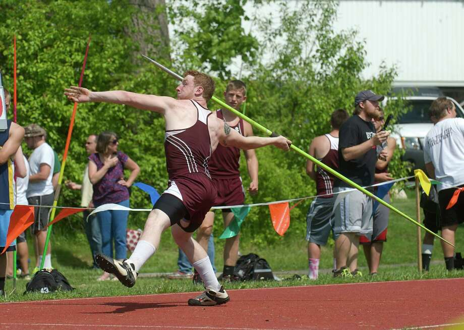 Trevor Ochs, Bethel High School, competing in the boys javelin throw during the South West Conference boys and girls track and field championships held at Bethel High School, Bethel, Conn. Monday May 20, 2013. Photo: H John Voorhees III