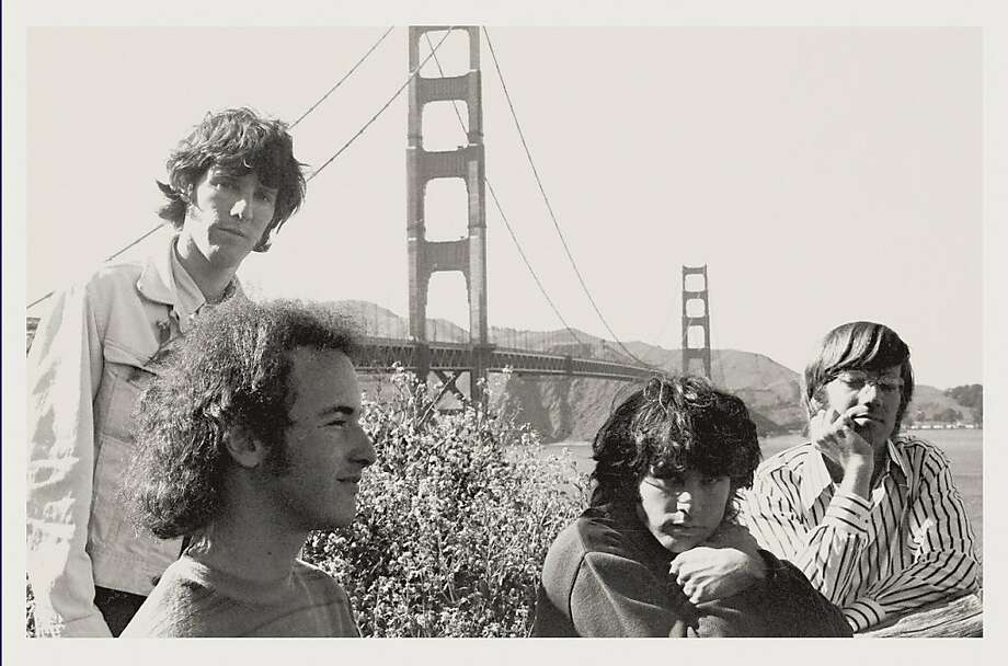 Doors keyboardist Ray Manzarek (right) visits San Francisco in 1967 with bandmates drummer John Densmore (left), guitarist Robby Krieger and singer Jim Morrison. The band's San Francisco shows helped define psychedelia. Photo: Bobby Klein, Courtesy Rhino Records