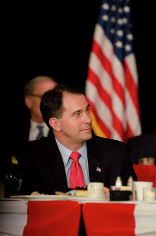 Wisconsin Governor Scott Walker is introduced as the keynote speaker during the annual Connecticut GOP Prescott Bush Awards dinner at the Stamford Hilton Hotel in Stamford on Monday, May 20, 2013. Photo: Amy Mortensen / Connecticut Post Freelance