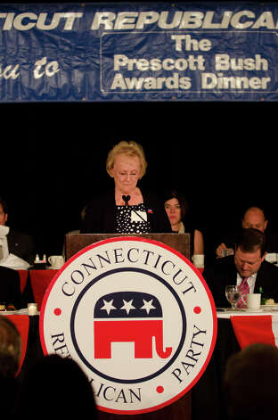 Newtown First Selectwoman Pat Llodra, recipient of the Women's Leadership Award, speaks during the annual Connecticut GOP Prescott Bush Awards dinner at the Stamford Hilton Hotel in Stamford on Monday, May 20, 2013. Photo: Amy Mortensen / Connecticut Post Freelance