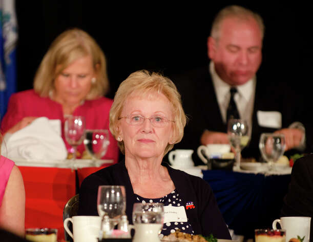 Newtown First Selectwoman Pat Llodra, recipient of the Women's Leadership Award, listens during the annual Connecticut GOP Prescott Bush Awards dinner at the Stamford Hilton Hotel in Stamford on Monday, May 20, 2013. Photo: Amy Mortensen / Connecticut Post Freelance