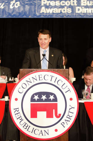 Chairman Jerry Laabriola, Jr. introduces the speakers during the annual Connecticut GOP Prescott Bush Awards dinner at the Stamford Hilton Hotel in Stamford on Monday, May 20, 2013. Photo: Amy Mortensen / Connecticut Post Freelance