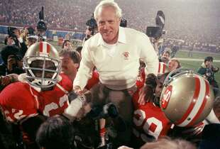 Legendary 49ers coach Bill Walsh, San Jose State. After playing football at SJSU, Walsh started his coaching career there as a grad assistant and later coached at Cal and Stanford.