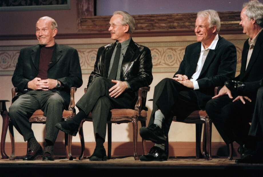 'Smothers Brothers' comedians Tom and Dick Smothers, San Jose StateThe brothers, left, appear at an event with Steve Martin, who got his start as a writer for their show. Photo: Denver Post, File Photo