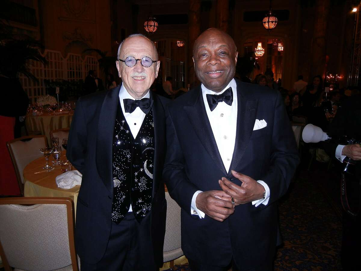 Wilkes Bashford (left) celebrates his 80th birthday at the Palace Hotel with his longtime pal, Willie L. Brown, Jr. May 2013. By Catherine Bigelow