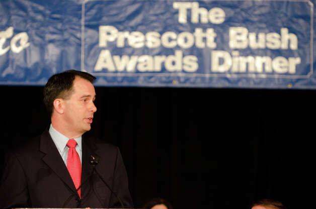 Wisconsin Governor Scott Walker speaks during the annual Connecticut GOP Prescott Bush Awards dinner at the Stamford Hilton Hotel in Stamford on Monday, May 20, 2013. Photo: Amy Mortensen / Connecticut Post Freelance