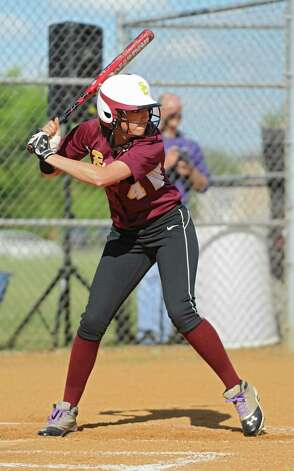 Colonie senior softball player Samantha Blum waits for the pitch during a time up bat in a game against Guilderland on Friday, May 17, 2013 in Colonie, N.Y. (Lori Van Buren / Times Union) Photo: Lori Van Buren / 00022473A