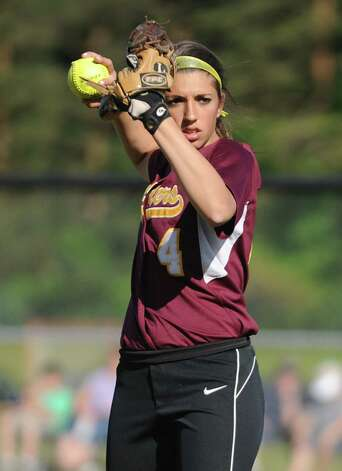 Colonie senior softball player Samantha Blum throws the ball during a game against Guilderland on Friday, May 17, 2013 in Colonie, N.Y. (Lori Van Buren / Times Union) Photo: Lori Van Buren / 00022473A