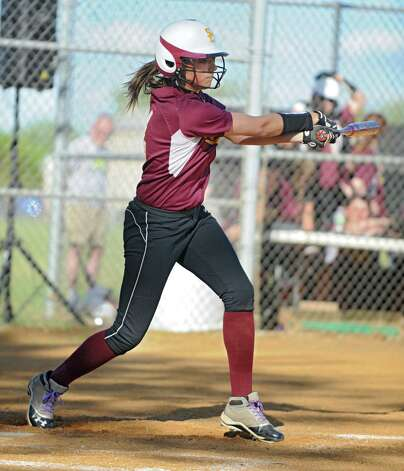 Colonie senior softball player Samantha Blum swings during a time up bat in a game against Guilderland on Friday, May 17, 2013 in Colonie, N.Y. (Lori Van Buren / Times Union) Photo: Lori Van Buren / 00022473A