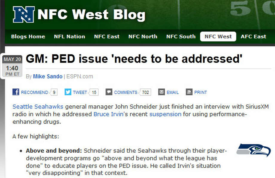 Seahawks GM John Schneider  On ESPN.com, Mike Sando pointed toward a Monday interview on SiriusXM radio in which GM John Schneider addressed the Seahawks' apparent problem. Schneider, as Sando reported, called Bruce Irvin's suspension a ''body blow'' to the team.