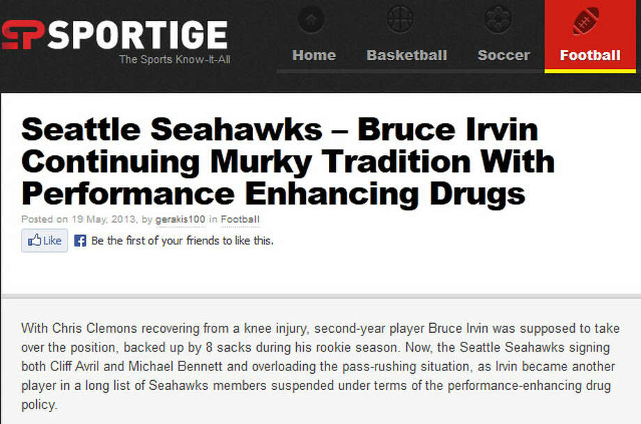 Sportige  On Sportige, an independent sports-fan site, one blogger wrote that Bruce Irvin's suspension is the one that really tips the scale for suspecting there might be a drug problem in the Seahawks clubhouse -- but also points to the need for a better overall NFL policy on Adderall.
