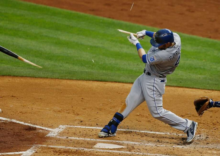 Alex Gordon of the Royals shatters his bat during a third inning at-bat.