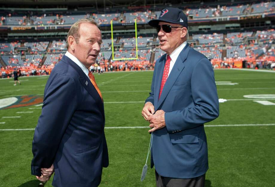 Denver Broncos owner Pat Bolen, left, and Houston Texans owner Bob McNair talk on the field before the game between the Texans and Broncos 1at Sports Authority Field Sunday, Sept. 23, 2012, in Denver. ( Brett Coomer / Houston Chronicle ) Photo: Brett Coomer, Staff / © 2012  Houston Chronicle