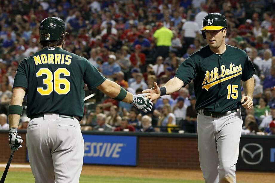 Oakland Athletics' Seth Smith (15) is congratulated by Derek Norris (36) after scoring a run against the Texas Rangers during the fifth inning of a baseball game, Monday, May 20, 2013, in Arlington, Texas. (AP Photo/Jim Cowsert) Photo: Jim Cowsert, Associated Press