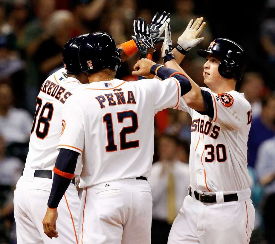 May 20: Astros 6, Royals 5  Matt Dominguez's three-run blast in the fourth inning proved to be the game winner as the Astros opened the home series on the right foot.  Record: 13-32. Photo: Bob Levey, Associated Press