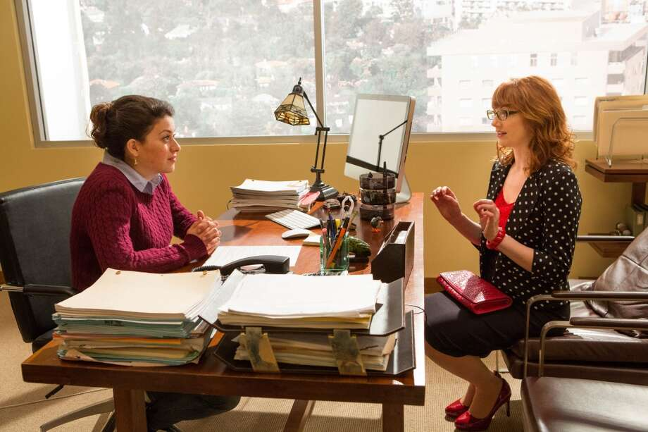 "Alia Shawkat (L) and guest star Judy Greer (R) in a scene from Netflix's ""Arrested Development."""