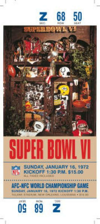 Super Bowl VI Date: Jan. 16, 1972 Location: Tulane Stadium, New Orleans Result: Dallas 24, Miami 3 Price: $15