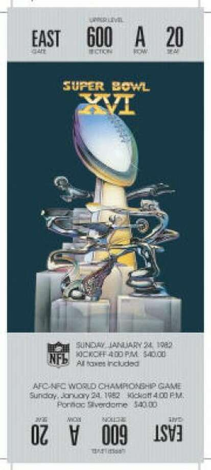 Super Bowl XVIDate:Jan. 24, 1982 Location: Silverdome, Pontiac, Mich. Result: San Francisco 26, Cincinnati 21 Price: $40 . Photo: Photo By NFL