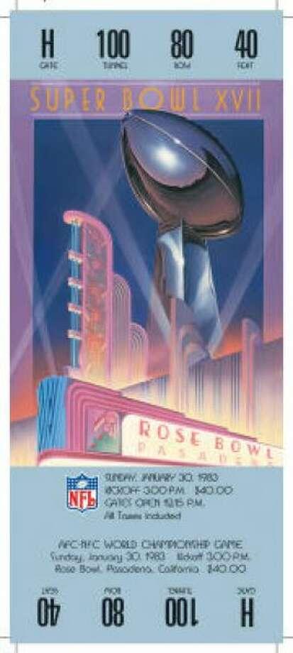 Super Bowl XVIIDate:Jan. 30, 1983 Location: Rose Bowl, Pasadena, Calif. Result: Washington 27, Miami 17 Price: $40 Photo: Photo By NFL