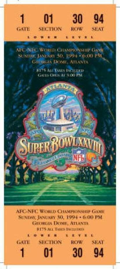 Super Bowl XXVIIIDate: Jan. 30, 1994 Location: Georgia Dome, Atlanta Result: Dallas 30, Buffalo 13 Price: $175 Photo: Photo By NFL