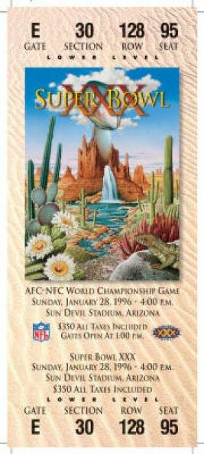 Super Bowl XXIXDate:Jan. 28, 1996 Location: Sun Devil Stadium, Arizona Result: Dallas 27, Pittsburgh 17 Price: $350 Photo: Photo By NFL