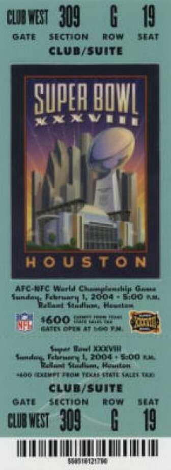 Super Bowl XXXVIIIDate: Feb. 1, 2004 Location: Reliant Stadium,. Houston Result: New England 32, Carolina 29 Price: $600, $500, $400 Photo: Photo By NFL