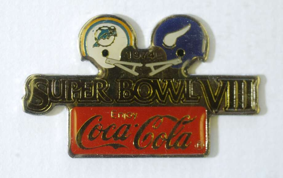 A pin from the first Houston Super Bowl (VIII) from 1974. Photo: Karen Warren, Houston Chronicle