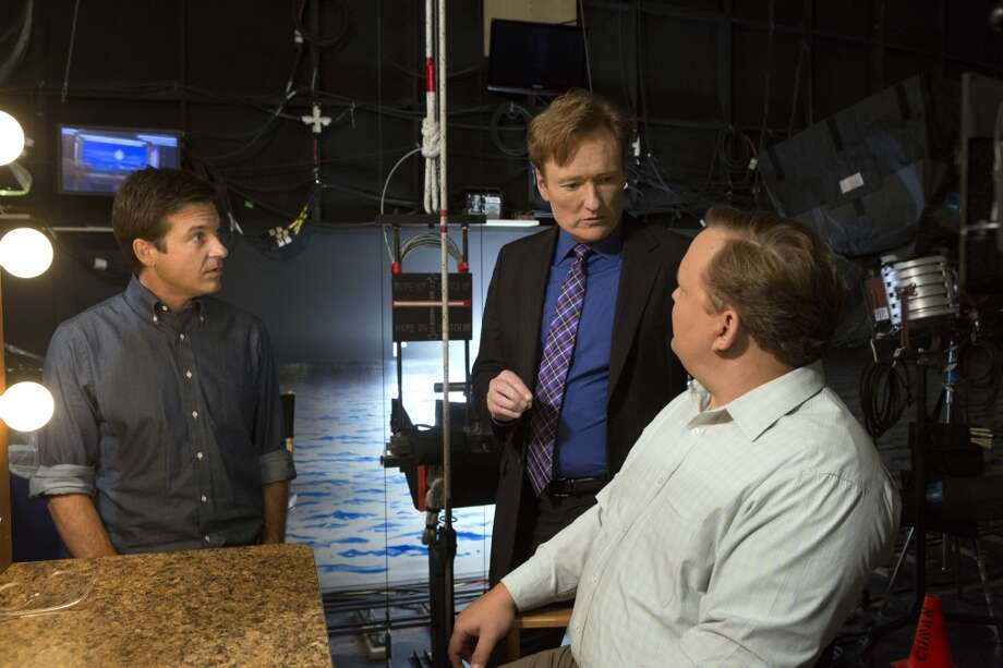 "From L-R: Jason Bateman, Conan O'Brien and Andy Richter  in a scene from Netflix's ""Arrested Development."""