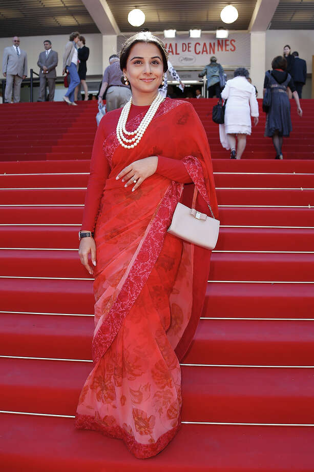 "Indian actress and member of the Feature Film Jury Vidya Balan poses on the red carpet on May 20, 2013 as she arrives for the screening of the film ""A Castle in Italy"" presented in Competition at the 66th edition of the Cannes Film Festival in Cannes. Photo: VALERY HACHE, AFP/Getty Images / 2013 AFP"